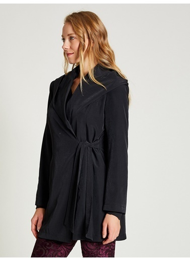 Vekem-Limited Edition Şal Yaka Kapüşonlu Trençkot Siyah
